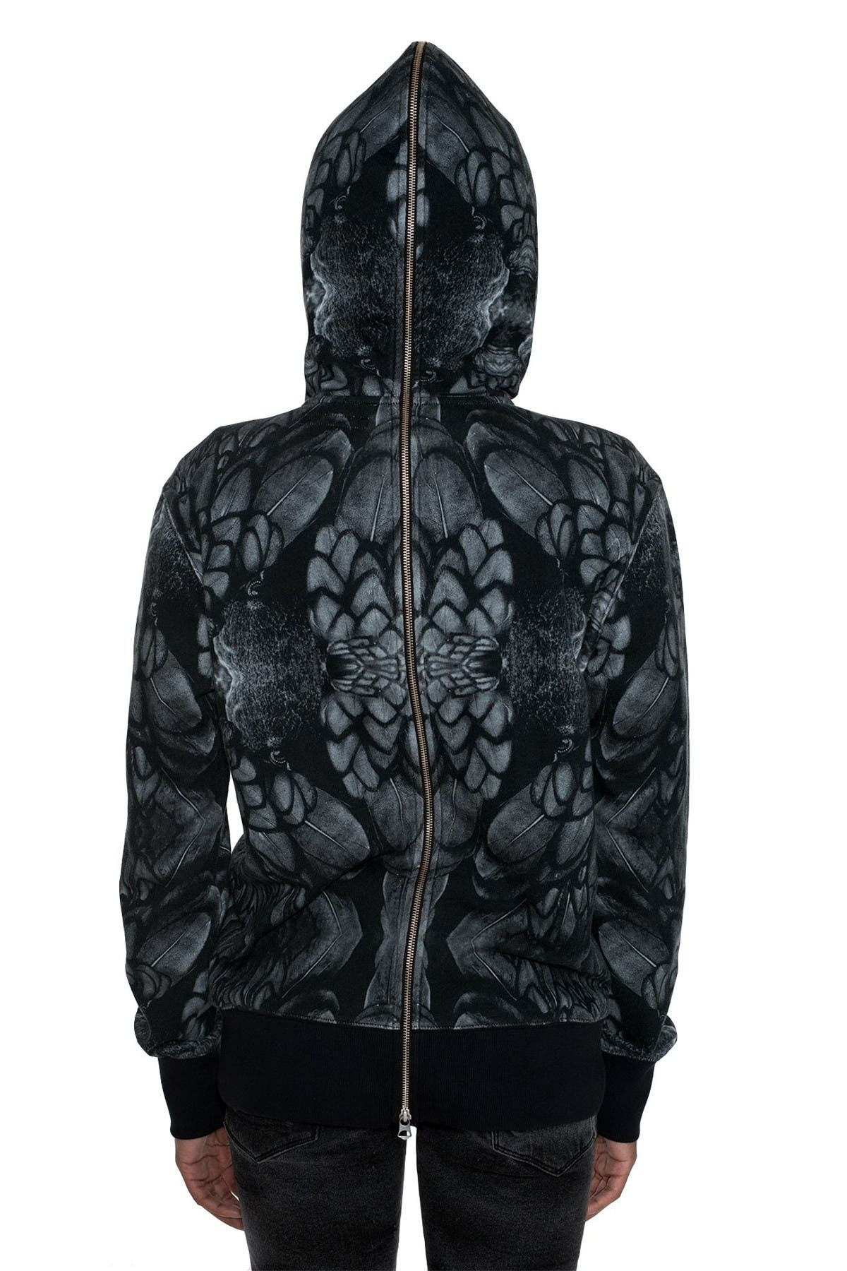 Image of Cult Of Individuality Raven Sublimation Split Zip Hoodie