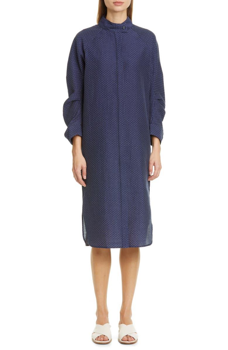ZERO + MARIA CORNEJO Camisa Cotton Blend Midi Shirtdress, Main, color, INK