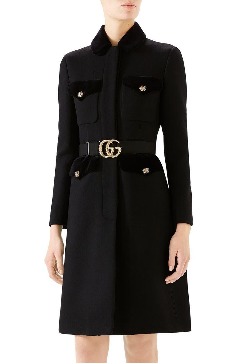 GUCCI GG Belt Military Coat, Main, color, BLACK