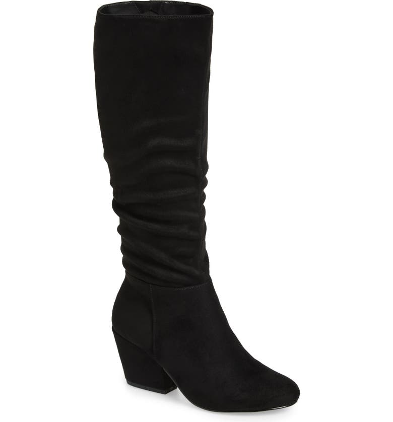 BELLA VITA Karen II Knee High Slouch Boot, Main, color, BLACK FAUX SUEDE