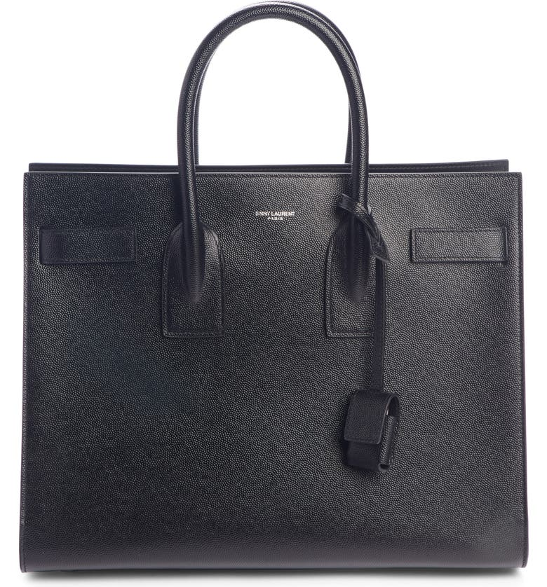 SAINT LAURENT Small Sac de Jour Grained Leather Tote, Main, color, NOIR