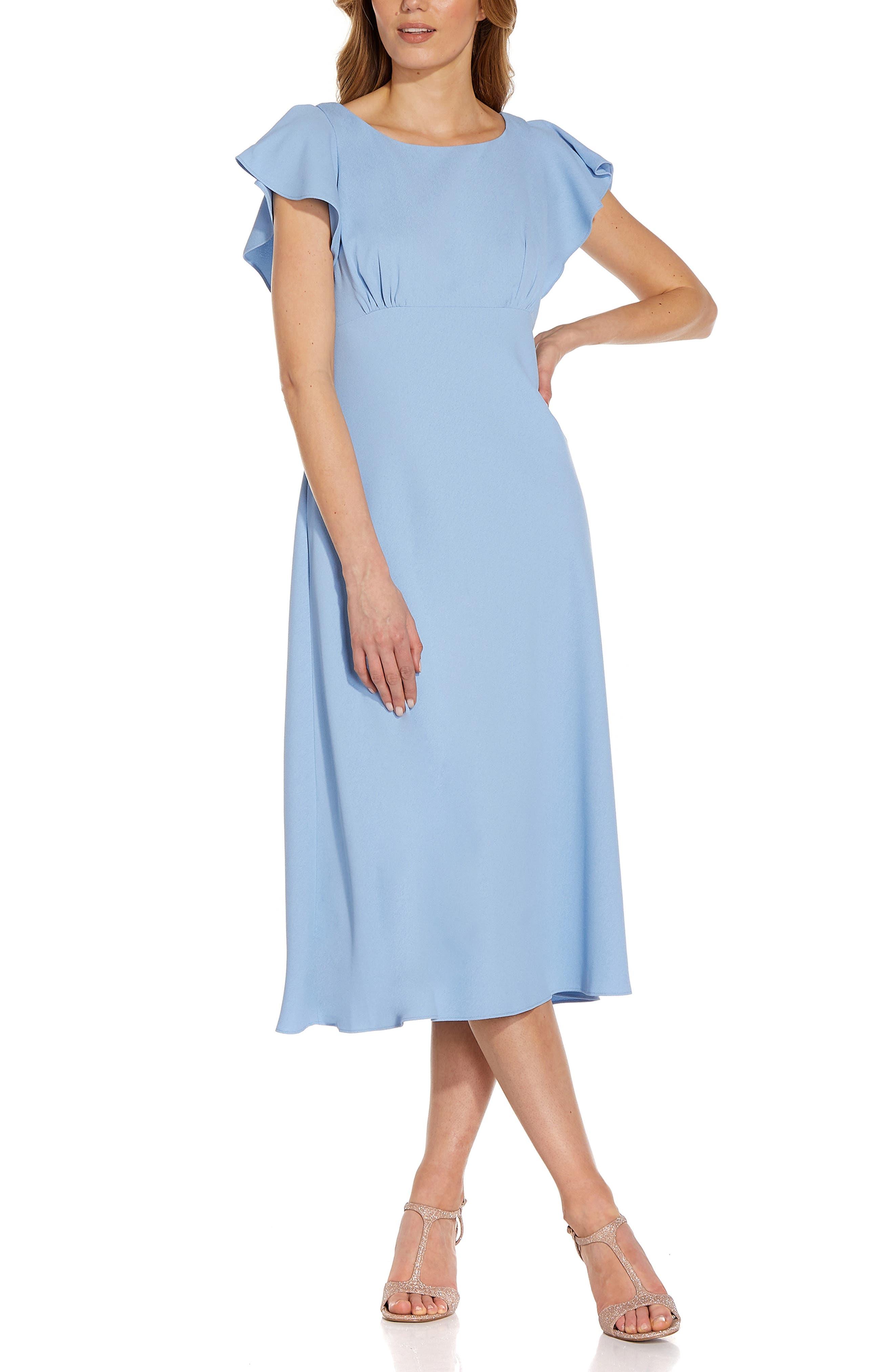 Flutter Sleeve Divine Crepe Midi Dress