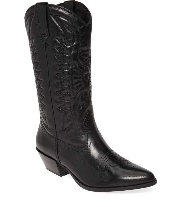 VAGABOND SHOEMAKERS Emily Western Boot, Main, color, BLACK LEATHER