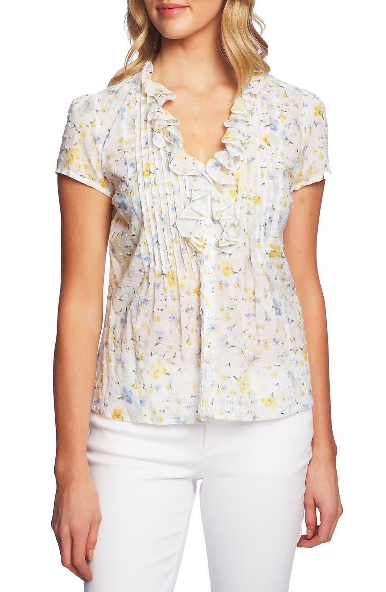 CECE Ruffle Detail Pintuck Cotton Top, Main, color, 900