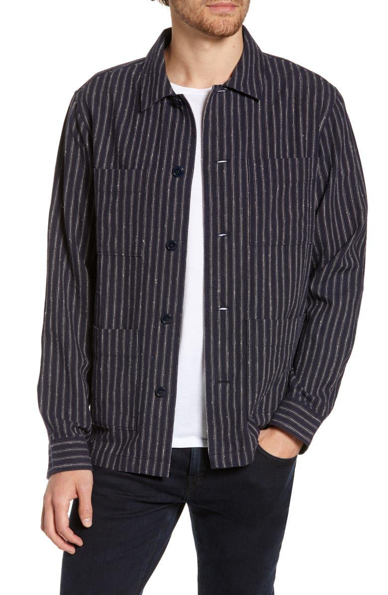 BONOBOS Slim Fit Neppy Stripe Linen Blend Shirt Jacket, Main, color, NAVY STRIPE