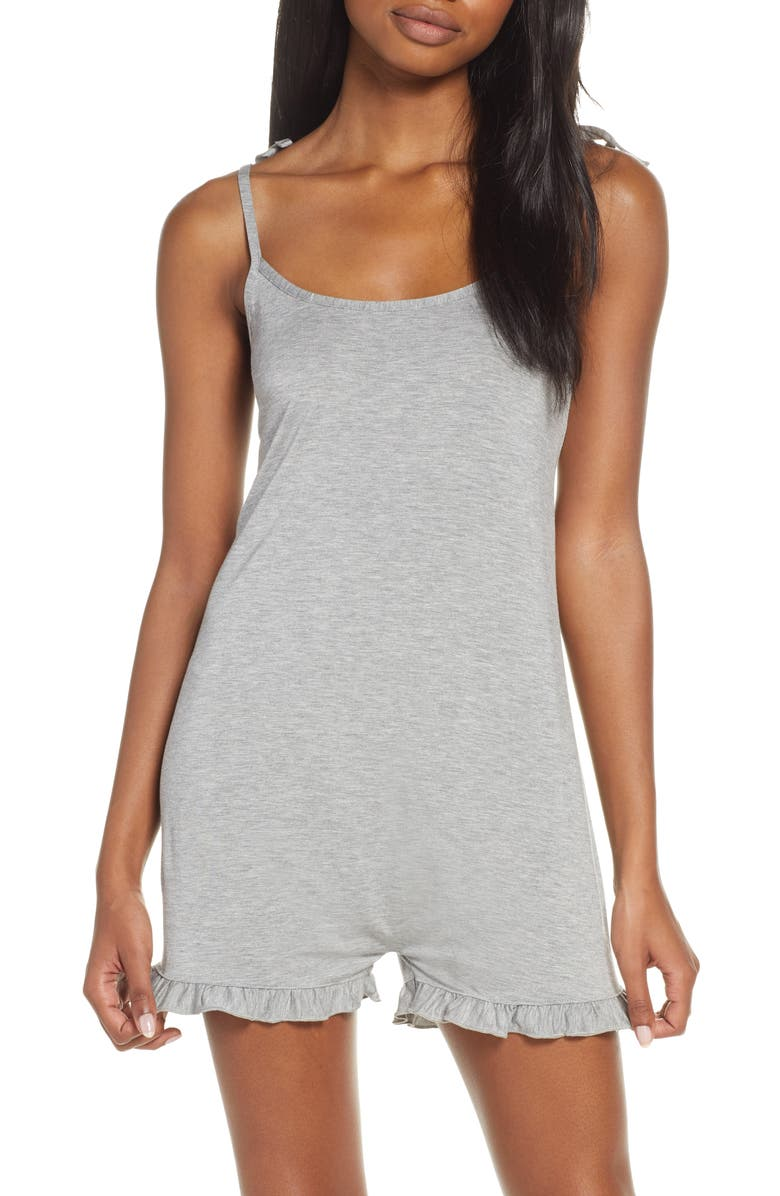 HONEYDEW INTIMATES Jersey Lounge Romper, Main, color, HEATHER GREY