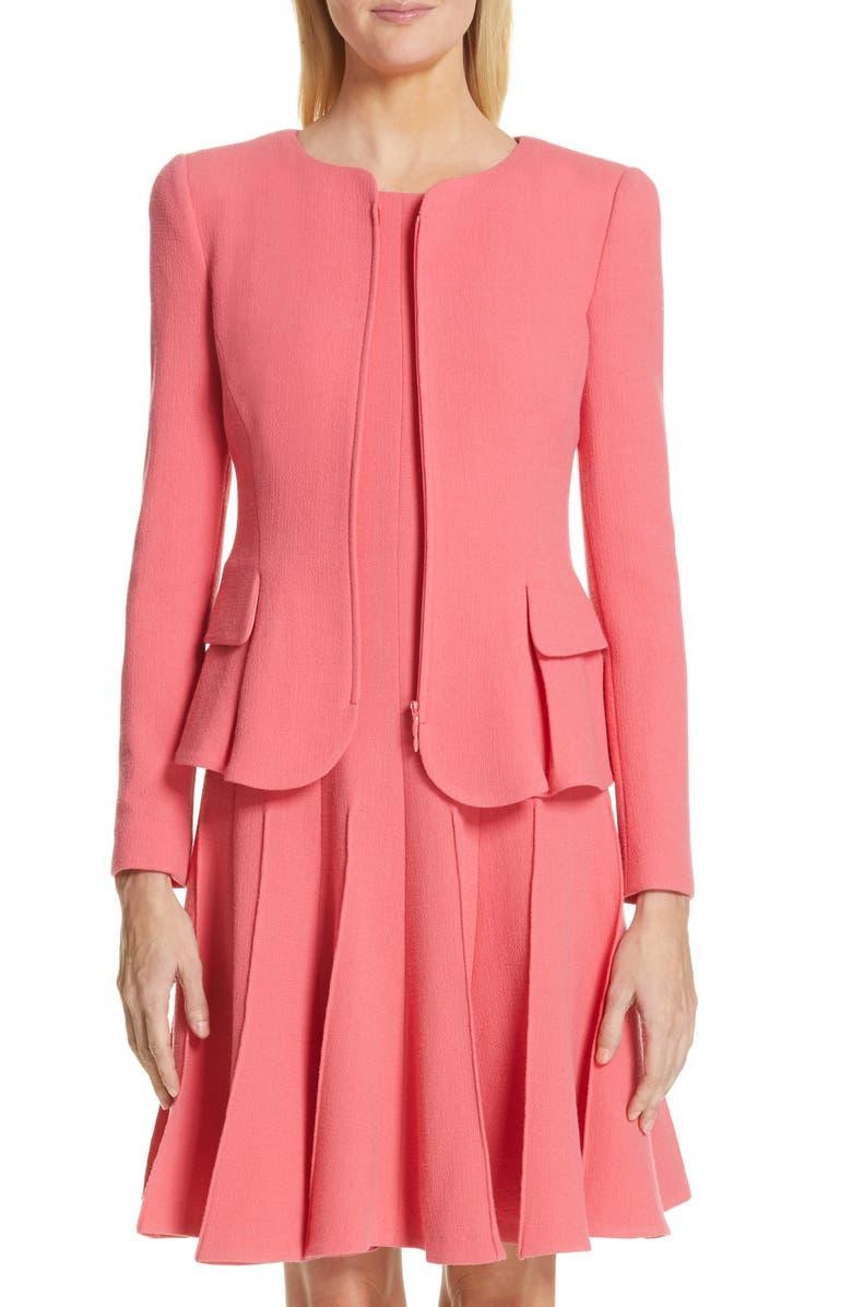 EMPORIO ARMANI Wool Crepe Peplum Jacket, Main, color, STRAWBERRY