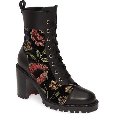 Christian Louboutin Metallic Floral Lace-Up Boot, Black