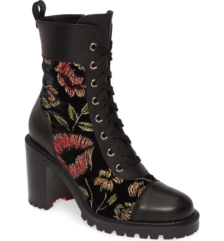 Metallic Floral Lace-Up Boot, Main, color, BLACK