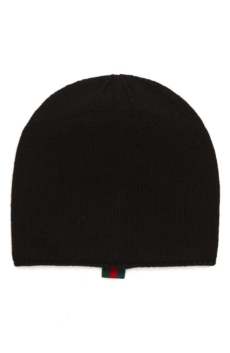 GUCCI Wool Beanie, Main, color, BLACK
