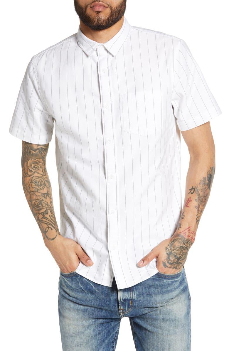 THE RAIL Stripe Oxford Cloth Shirt, Main, color, WHITE BLACK LEAN STRIPE