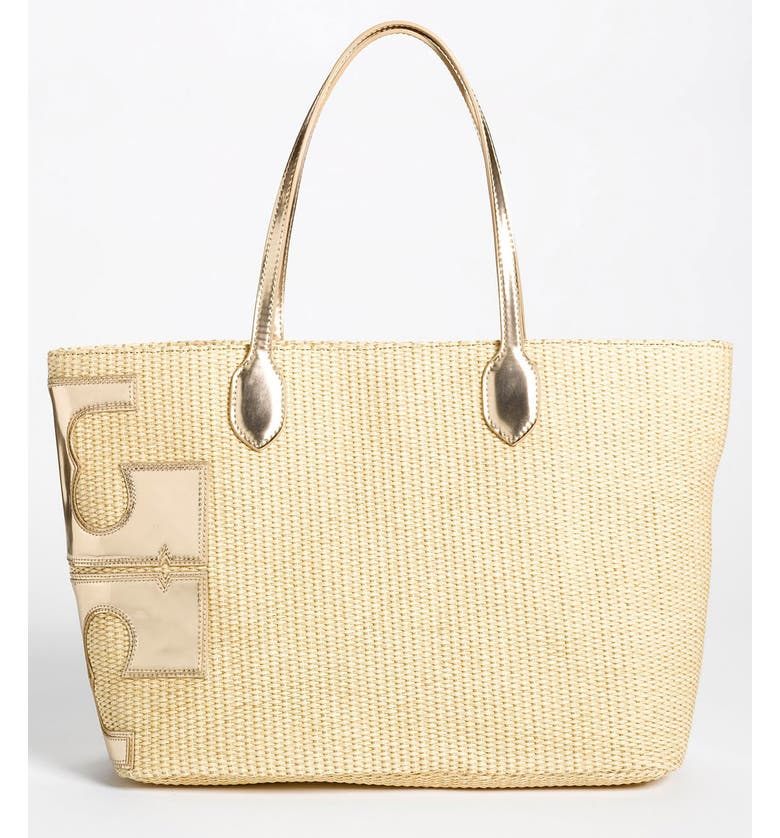 TORY BURCH 'Metallic Stacked T' Tote, Large, Main, color, 271