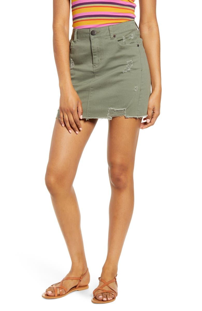 1822 DENIM Distressed Denim Miniskirt, Main, color, BRADY