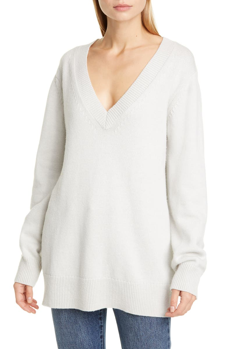 CO Essentials Wool & Cashmere Boyfriend Sweater, Main, color, DOVE GREY