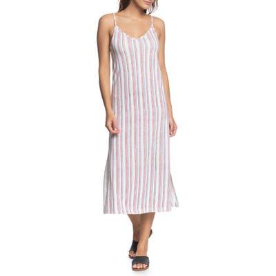 Roxy Avila Beach Stripe Sleeveless Midi Dress, Blue