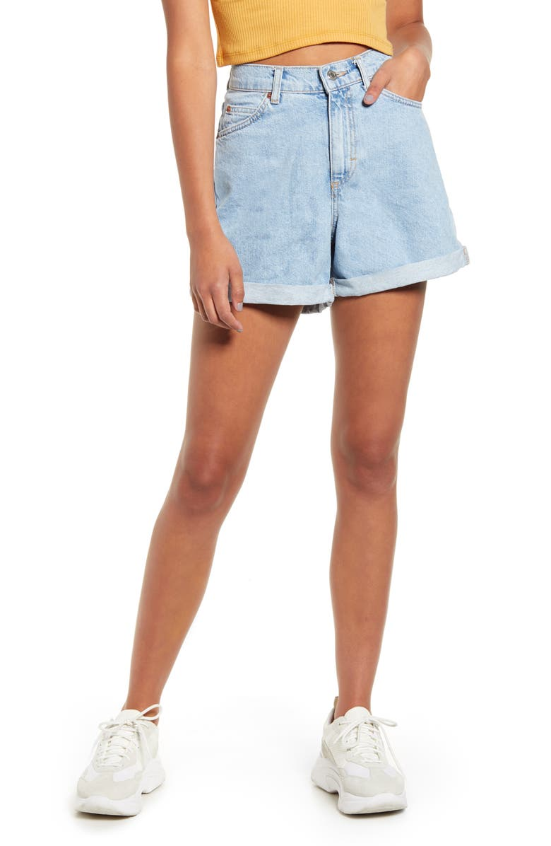 TOPSHOP Roll Cuff Denim Mom Shorts, Main, color, MID DENIM