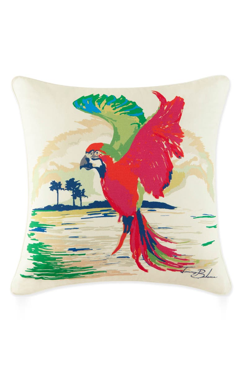 TOMMY BAHAMA Painted Parrot Pillow, Main, color, RED/ MULTI