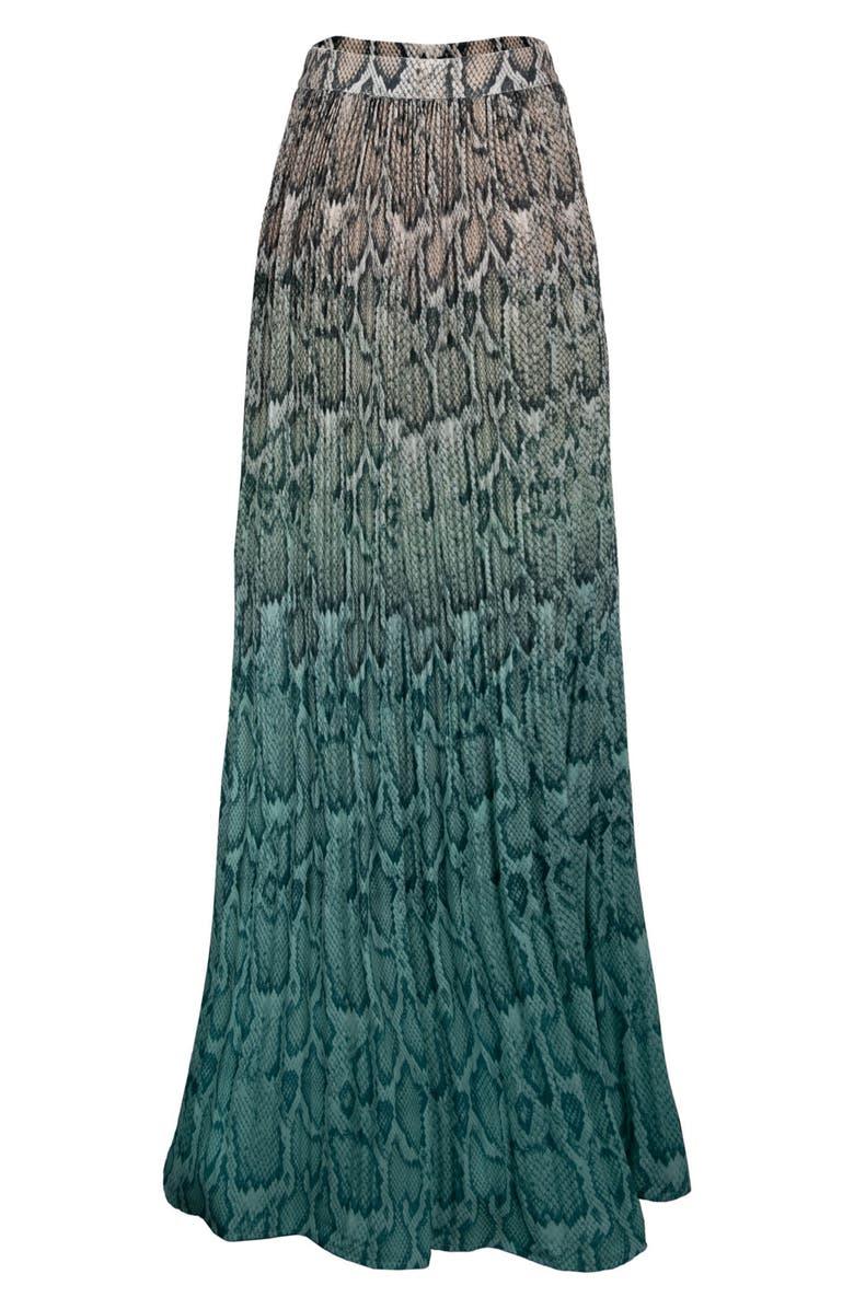 AFRM Rocco Plissé Pleat High Waist Maxi Skirt, Main, color, TEAL OMBRE TIE DYE