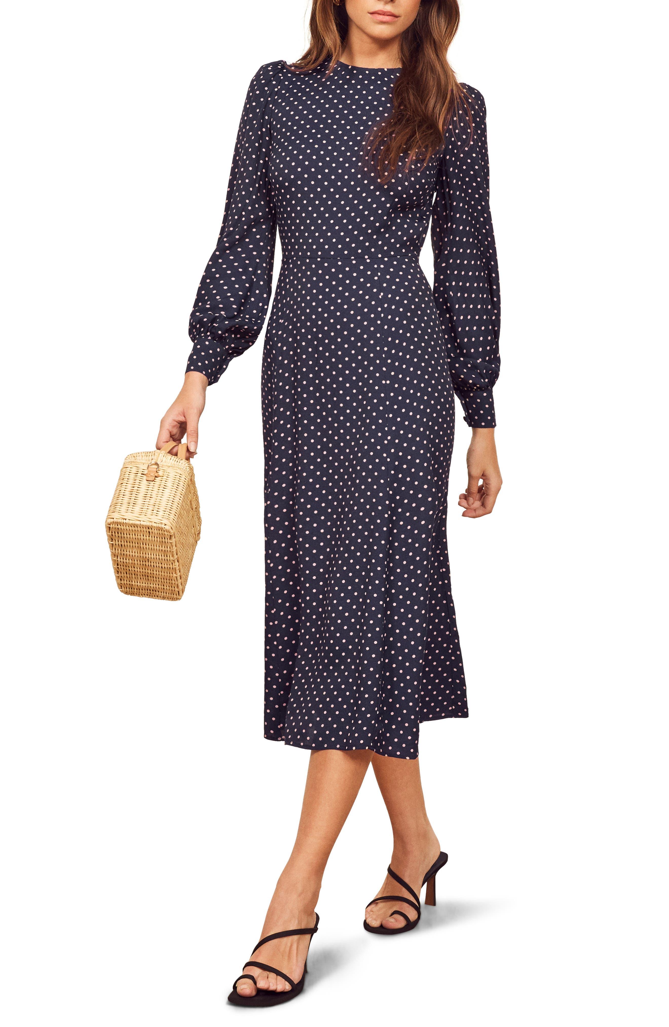 Reformation Abigaile Long Sleeve Dress, Blue