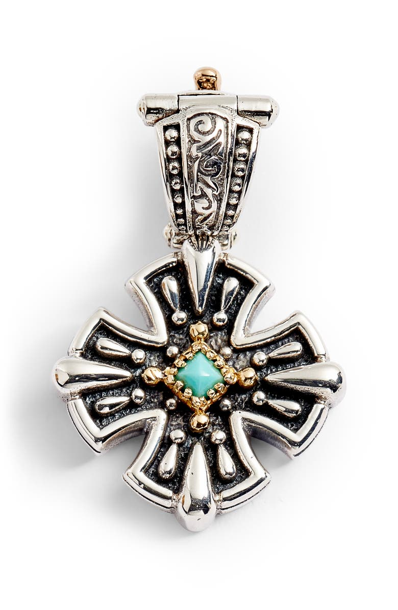KONSTANTINO Trillion Small Stone Cross Pendant, Main, color, SILVER/ GOLD/ TURQUOISE