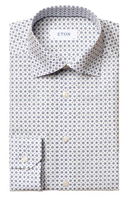 Eton Dresses SLIM FIT MEDALLION PRINT DRESS SHIRT