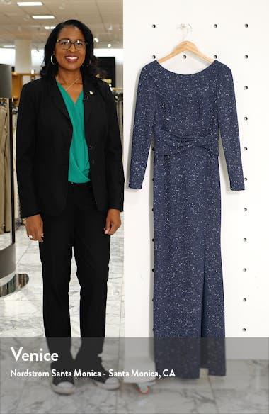 Bateau Neck Long Sleeve Sparkle Gown, sales video thumbnail