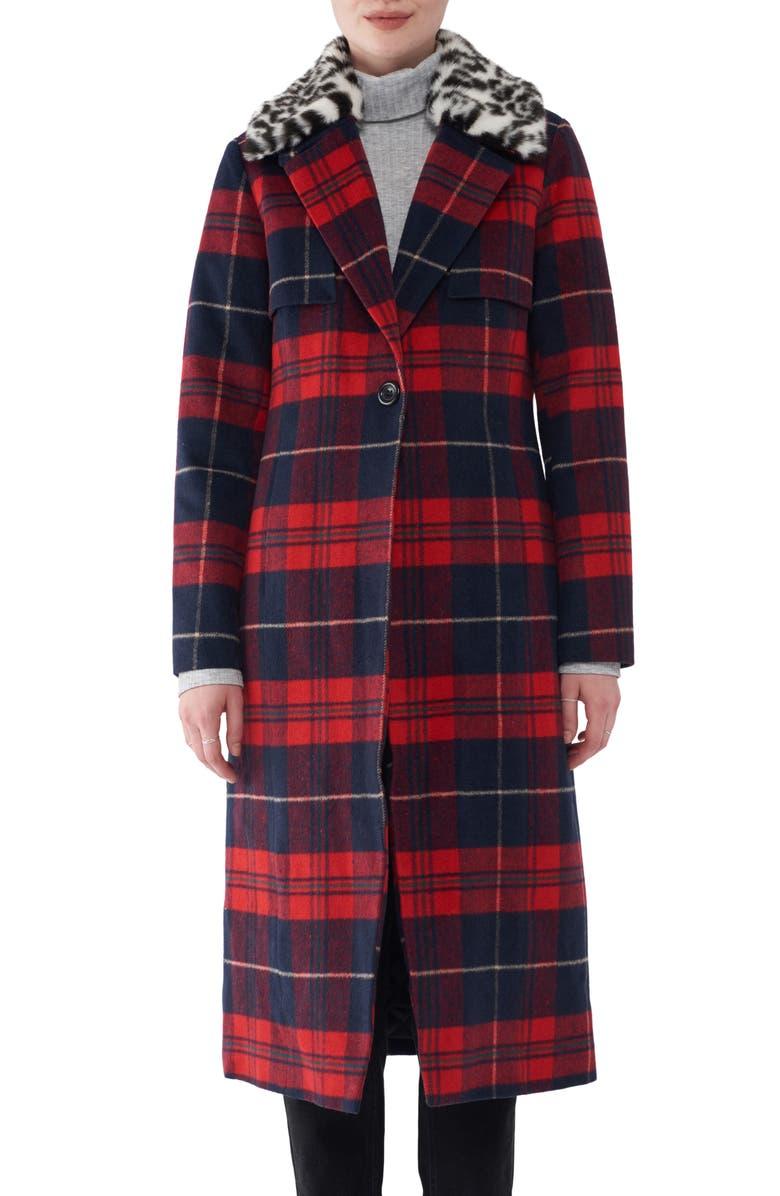 NVLT Faux Fur Collar Plaid Long Coat, Main, color, RED PLAID