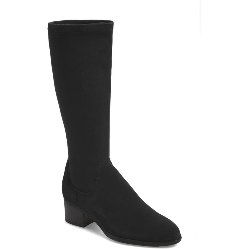BOS. & CO. Rally Waterproof Knee-High Boot, Main, color, BLACK SUEDE