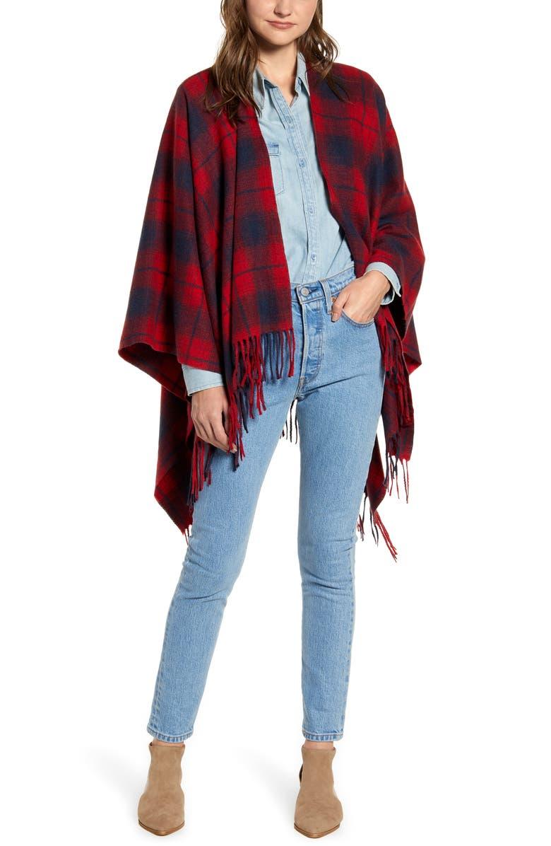 TREASURE & BOND Plaid Fringe Blanket Scarf, Main, color, 610
