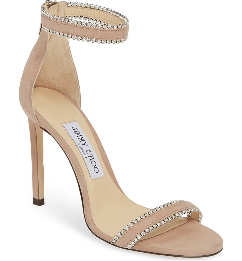 JIMMY CHOO Dochas Jewel Strap Sandal, Main, color, BALLET PINK SUEDE