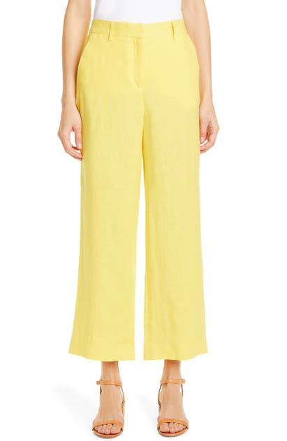 Mansur Gavriel Linen Straight Leg Ankle Pants In Sun