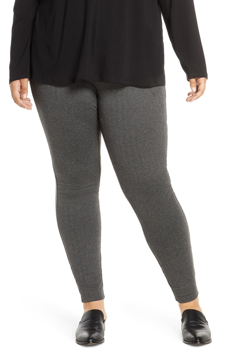 EILEEN FISHER Stretch Recycled Polyester Ankle Leggings, Main, color, CHARCOAL