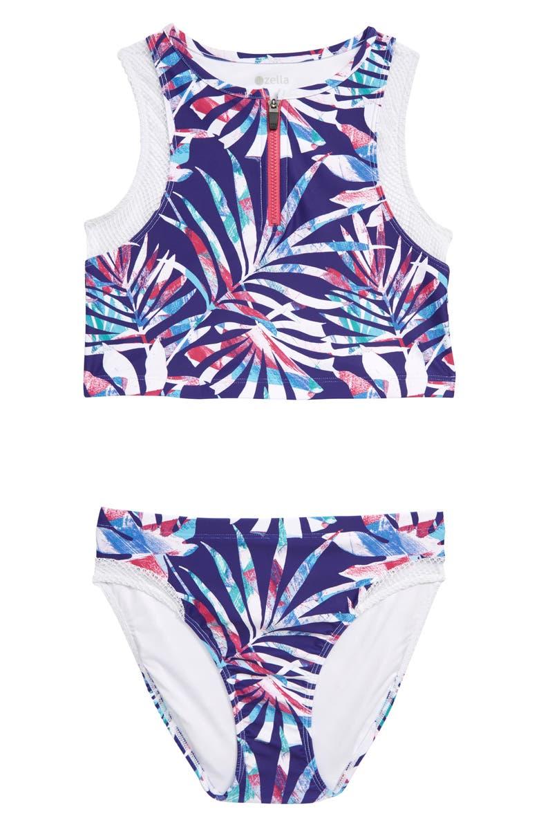 ZELLA GIRL Zip Front Two-Piece Swimsuit, Main, color, 501