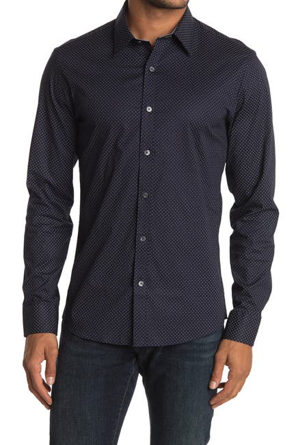 Image of Michael Kors Micro Print Long Sleeve Slim Fit Shirt