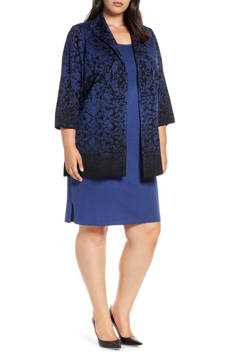 MING WANG Ombré Floral Knit Jacket, Main, color, 006