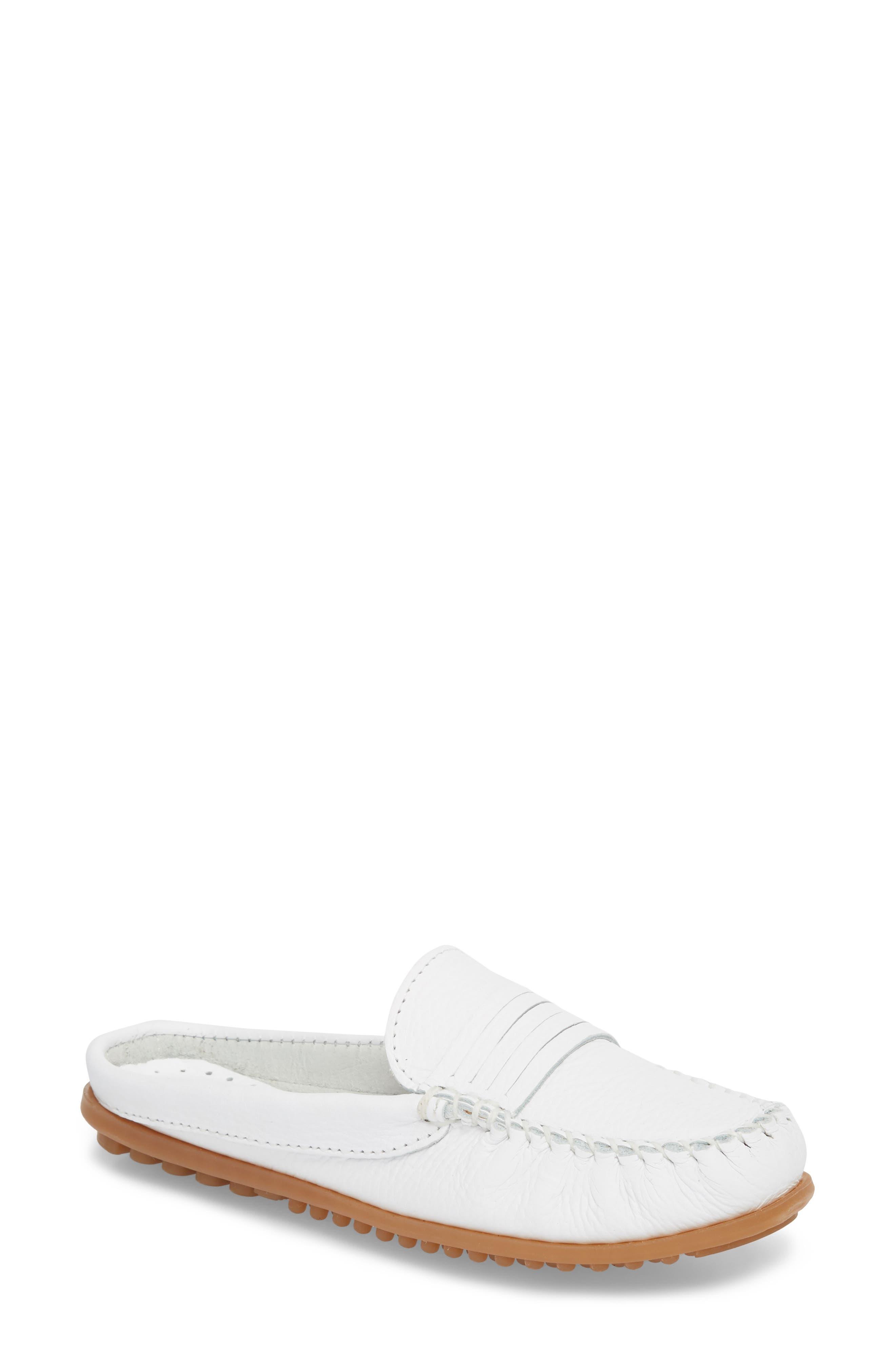 Minnetonka Kate Moc Toe Loafer Mule, White