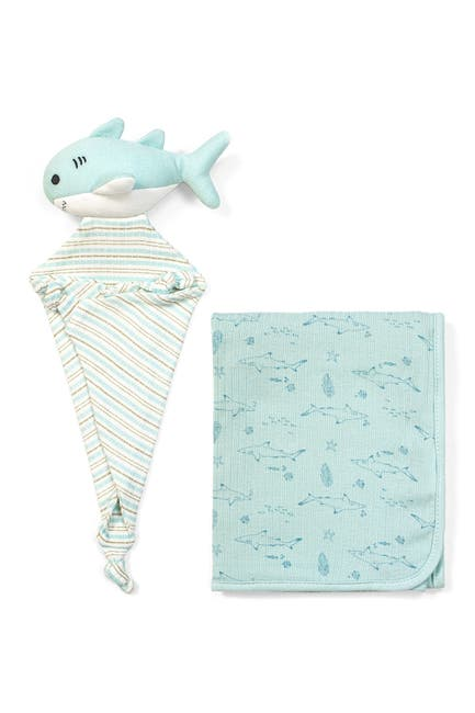 Image of RABBIT AND BEAR ORGANIC Shark Print Swaddle Blanket & Teddy Lovey 2-Piece Set