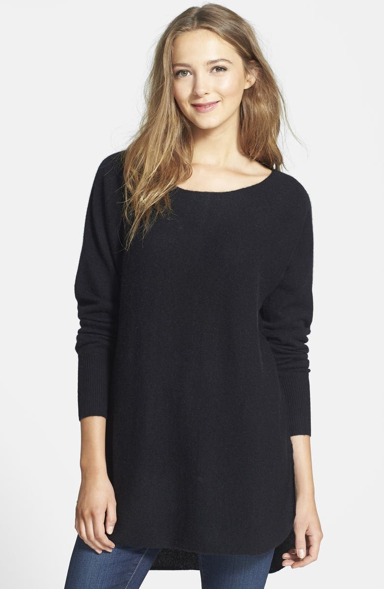 HALOGEN<SUP>®</SUP> Cashmere Shirttail Sweater, Main, color, 001
