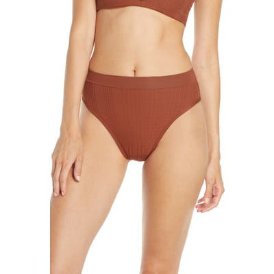 L Space French Cut High Waist Textured Swim Bottoms, Brown
