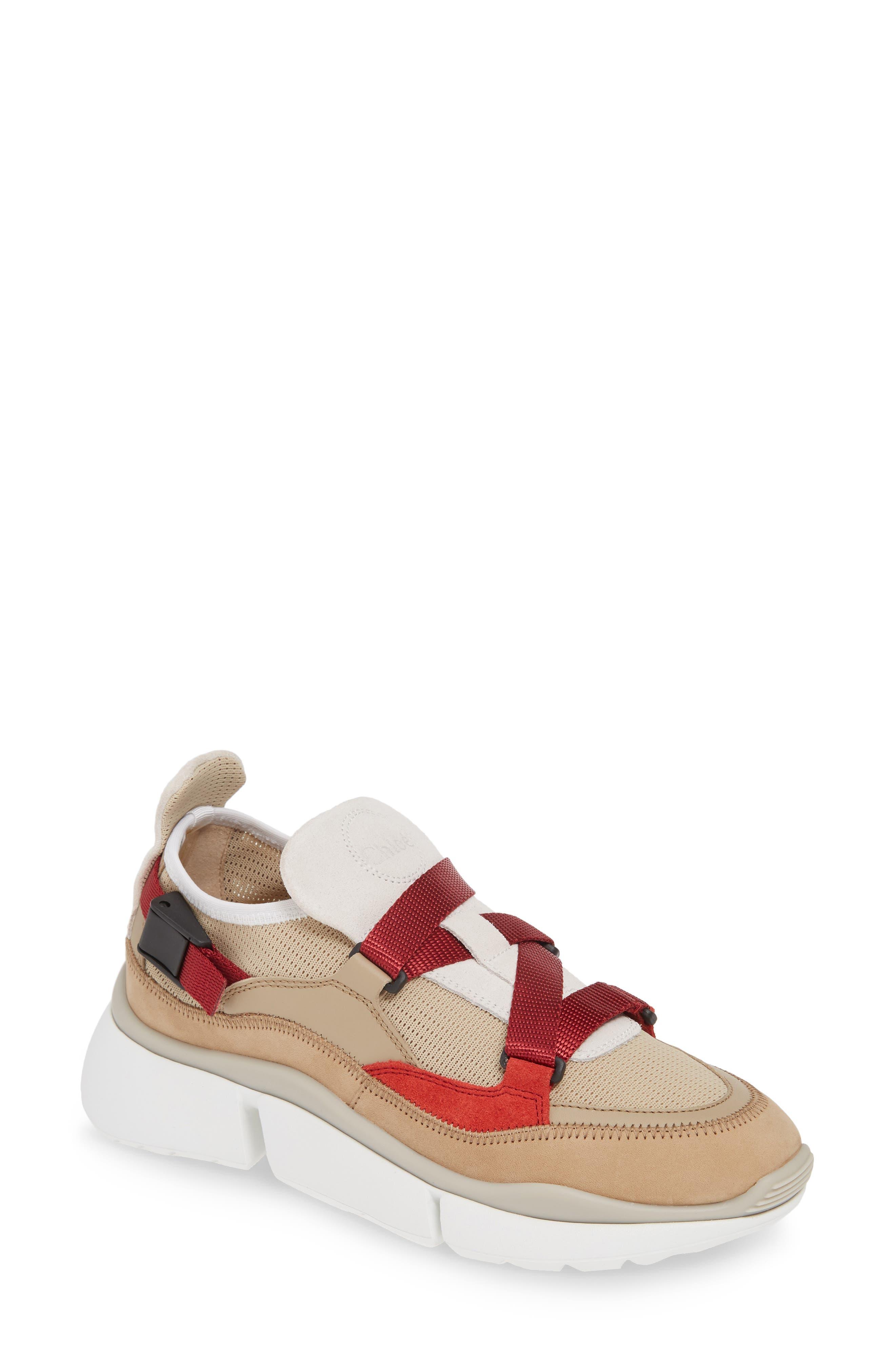 Chloe Sonnie Low Top Sneaker, Beige