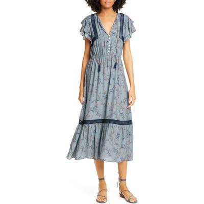 Dolan Elsie Lace Trim Flutter Midi Dress, Blue