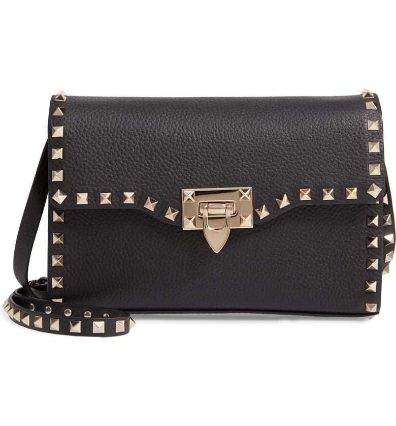 VALENTINO GARAVANI Medium Rockstud Leather Crossbody Bag, Main, color, BLACK