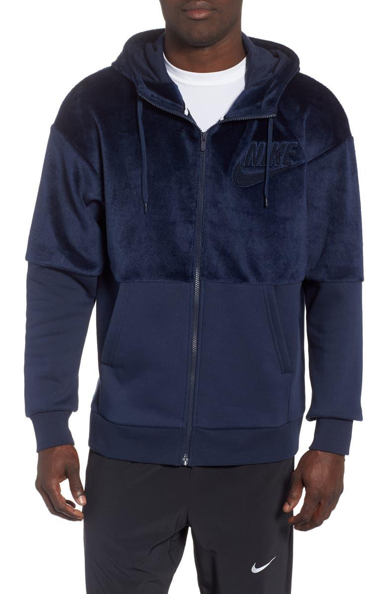 NIKE NSW Fleece Zip Hoodie, Main, color, OBSIDIAN/ OBSIDIAN