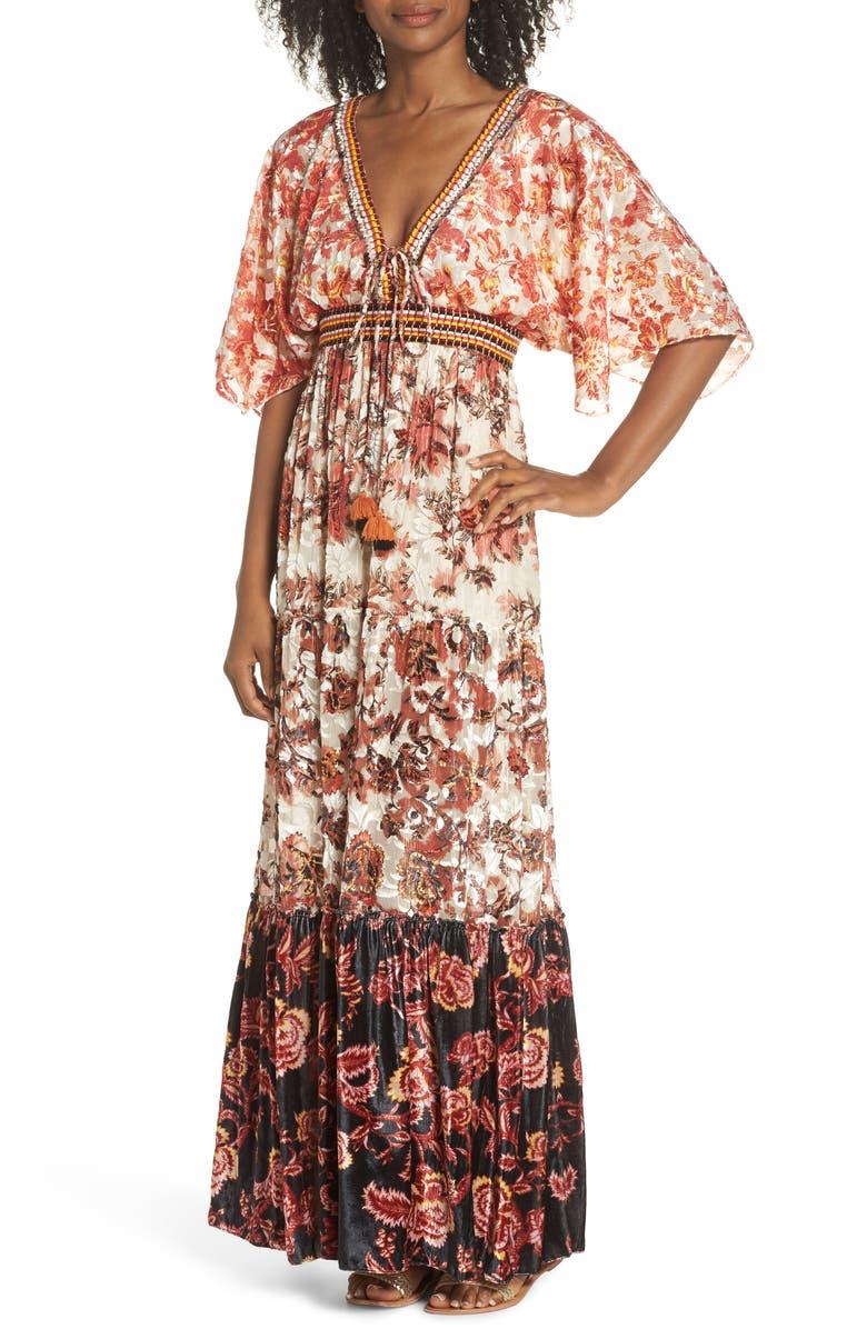 HEMANT & NANDITA Cover-Up Maxi Dress, Main, color, RUST MULTI