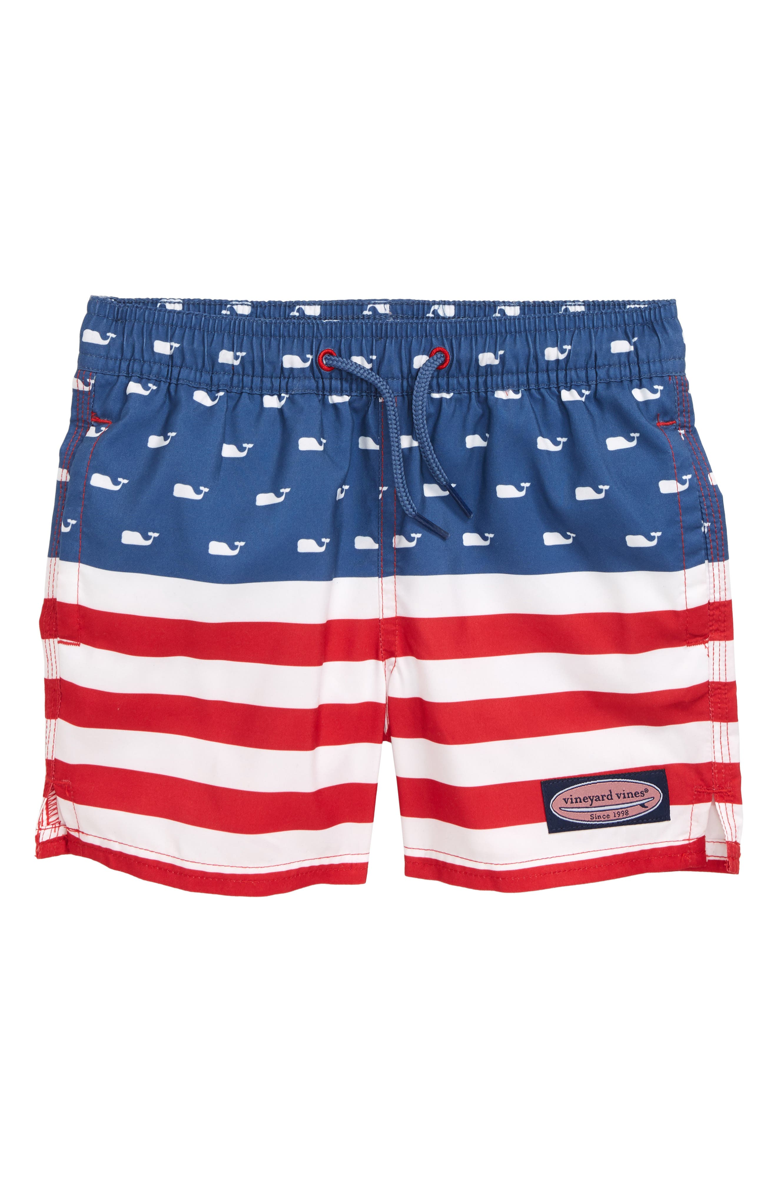 Toddler Boys Vineyard Vines Chappy Usa Flag Swim Trunks Size 4T  Red