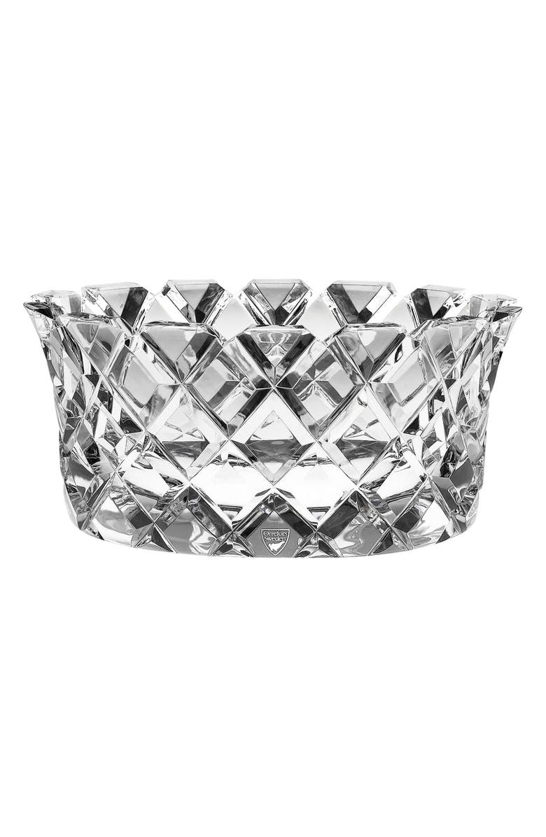 ORREFORS Sofiero Low Crystal Bowl, Main, color, CLEAR