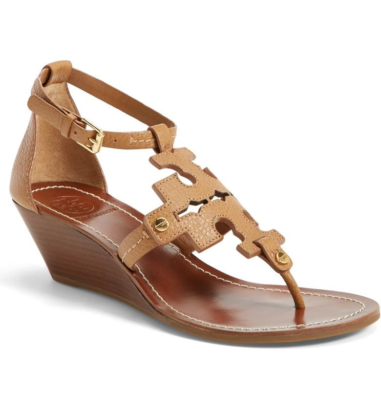 TORY BURCH 'Chandler' Wedge Leather Sandal, Main, color, 260