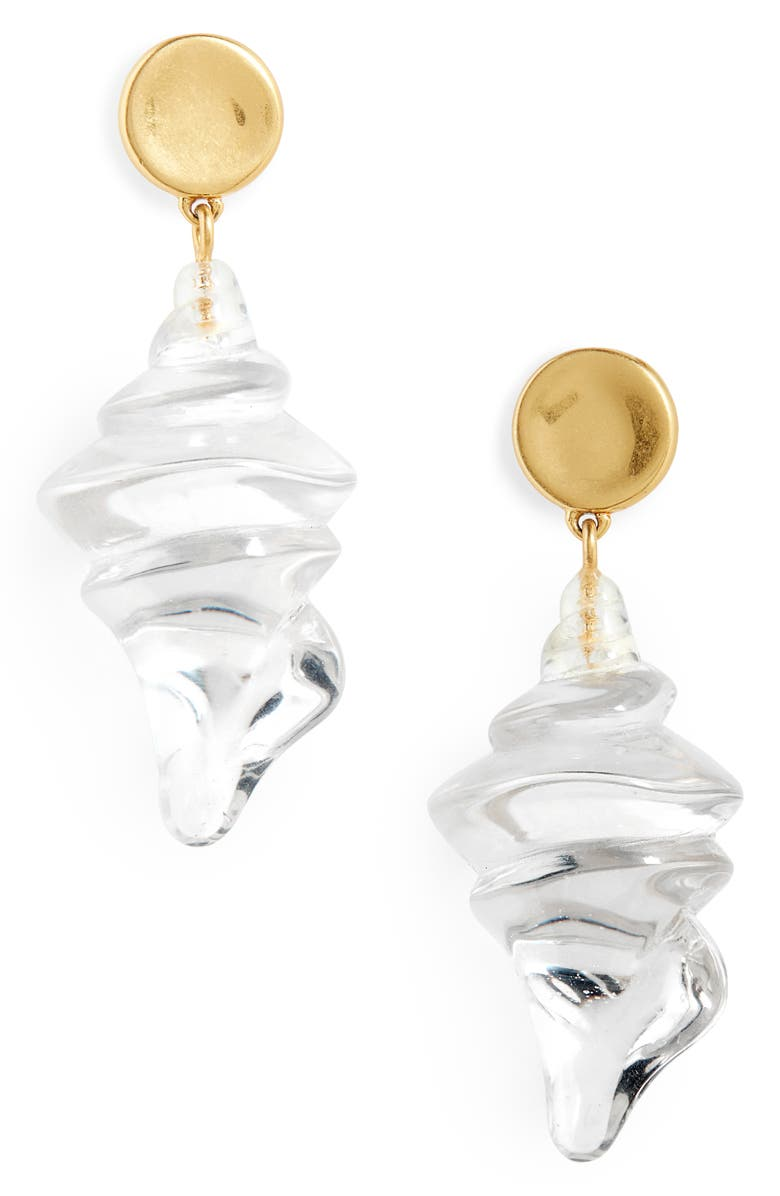 MADEWELL Resin Shell Statement Earrings, Main, color, CLEAR