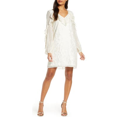 Lilly Pulitzer Belle Long Sleeve Fil Coupe Silk Dress, Ivory