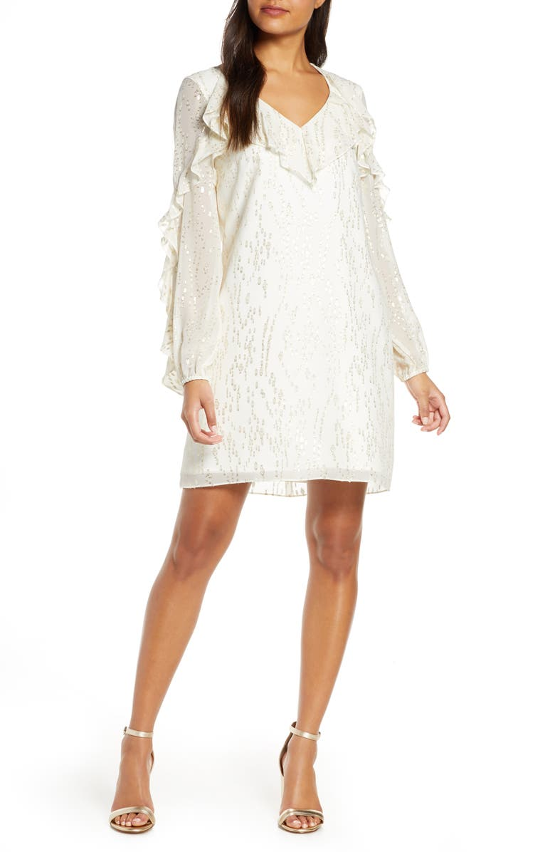 LILLY PULITZER<SUP>®</SUP> Belle Long Sleeve Fil Coupé Silk Dress, Main, color, COCONUT FISH CLIP CHIFFON